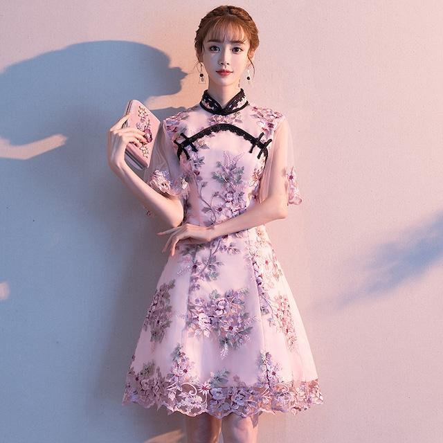 可愛い チャイナ風ドレス チャイナ風服 二次会 女子会 同窓会 スタンドネック 半袖 ショート丈 刺繍入り レース 改良型チャイナドレス 大きいサイズ XS S M L LL 3L