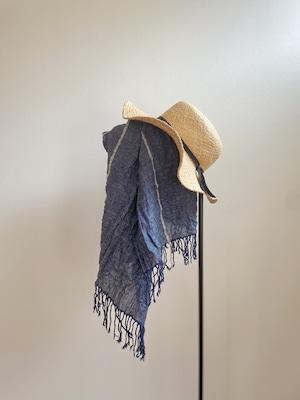 Hand-woven Silk&Linen scarf / line Navy  手織りシルクリネンショール ライン ネイビー