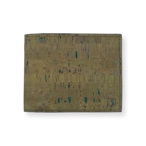 VEGAN  COIN WALLET  OLIVE/ 二つ折り財布 オリーブ コルク製 小銭入れ付き