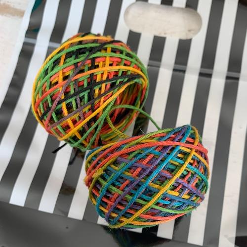 イタリア産高級オリジナルヘンプ 人気カラー RAINBOW&RASTA 15g 2個セット(袋入り)(糸の太さを選んでください)