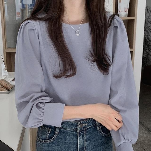 【トップス】シンプルショート丈ギャザー飾りパフスリーブプルオーバーシャツ40915837