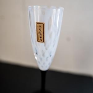 フルートワイングラス 廣田硝子 大正浪漫ガラス( 水玉 )