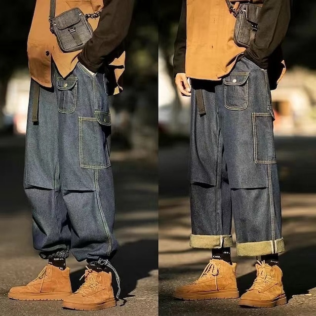 【ボトムス】男性デニムファッションポケット付きワイルドパンツ52988420
