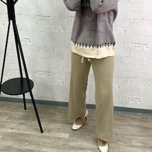 【即納】ニットパンツ(3色)|楽チン スタイル 脚長効果
