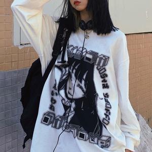 【トップス】暗黒系プリント長袖ラウンドネックルーズINS風Tシャツ53527559