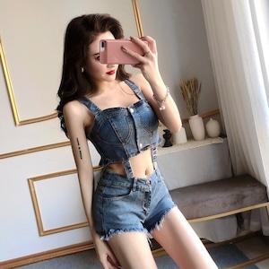 【セット】セクシーファッション個性的キャミソール+ショートパンツ30822818