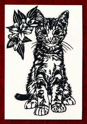 切り絵ポストカードno022 たくましく生きる猫(E-4-02722)