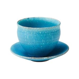 信楽焼 へちもん コーヒーカップ&ソーサー 約380ml 青彩釉 MR-3-3297