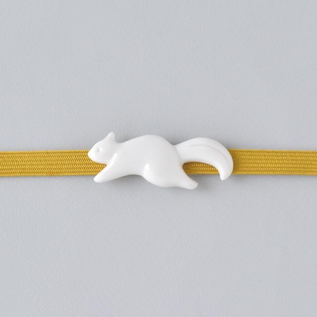 白磁の帯留め カモメ