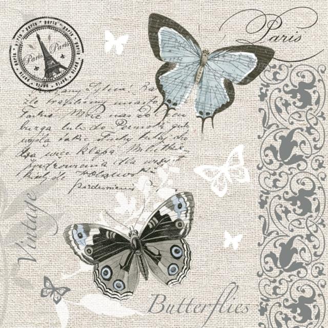 【Maki】バラ売り2枚 ランチサイズ ペーパーナプキン Butterflies Postcard リネン