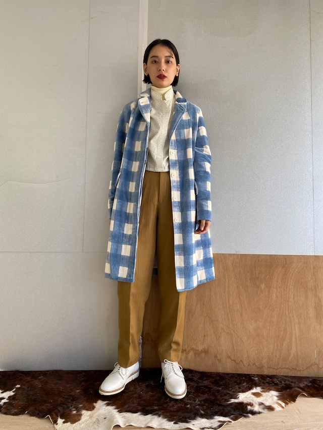 "Two style sleeve coat ""block print big size gingham check blue"" cotton velvet"