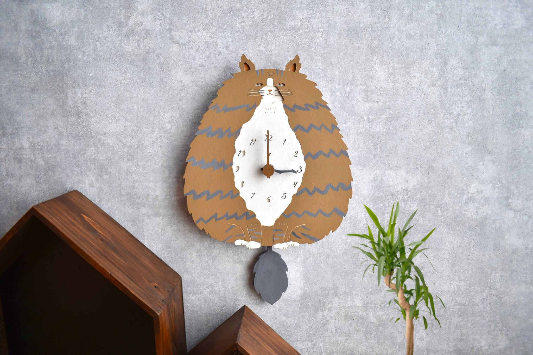 ノルウェージャン・フォレスト・キャット*レギュラーサイズの時計 木製 振り子時計 掛け時計
