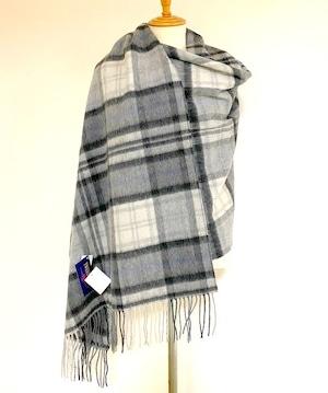 【TWEEDMILL】Lambswool Blanket Stole with Pin(Knee Rug) Tartan Cottage Grey
