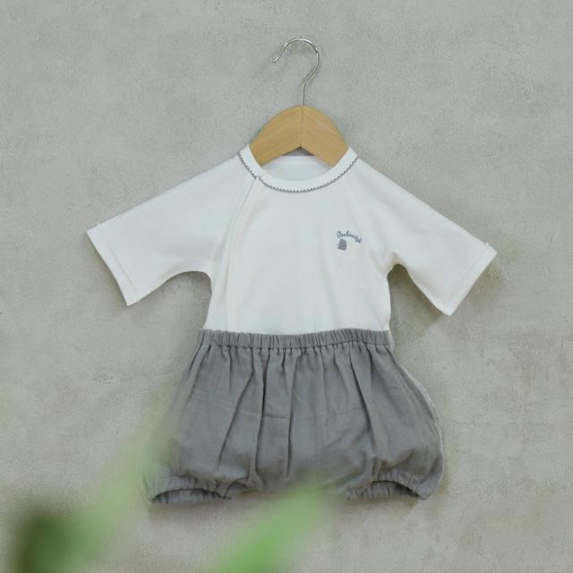 新生児でもお着替え簡単カバーオール ラクラクふわふわバルーンオール エンジェル(日本製)