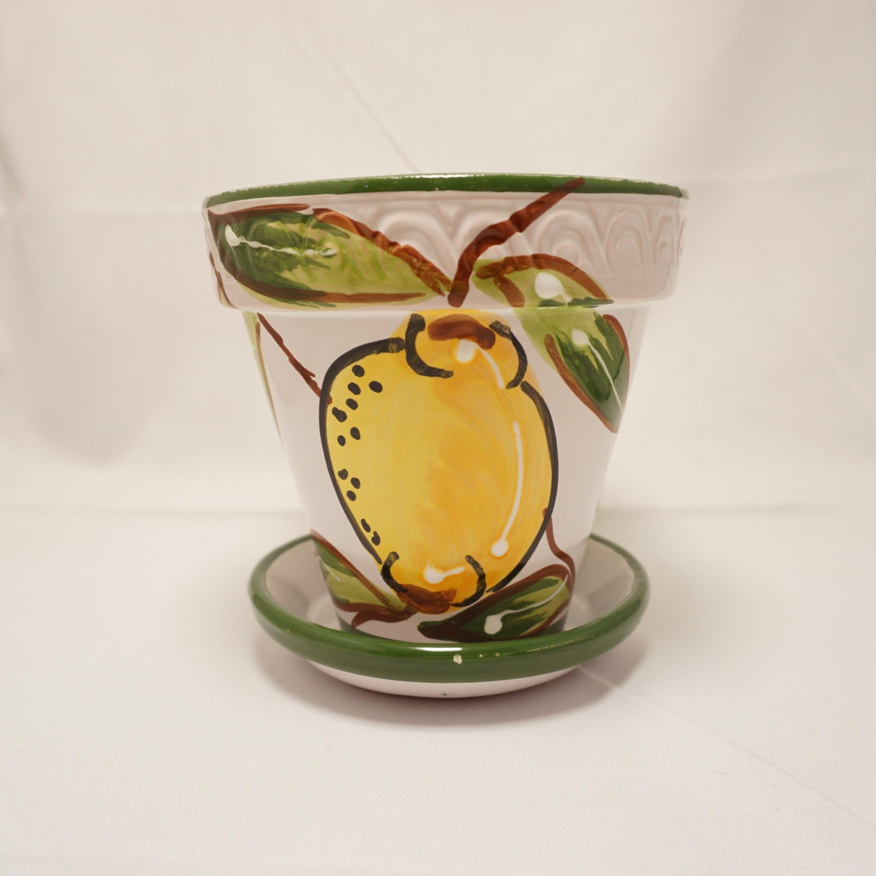 【スペイン陶器】4号プランター(レモン)