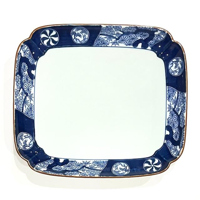 【SALE】丸紋松絵 四方押盛込皿《デッドストック》