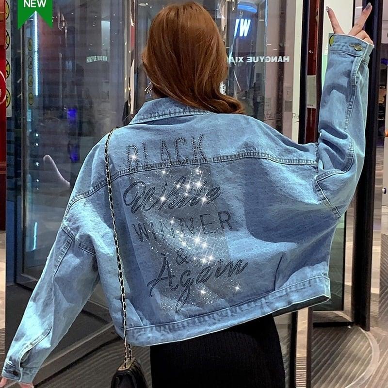 ドロップショルダーで女性らしく♡デニムショートジャケット♪