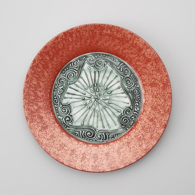 【古千窯】赤巻き金箔チラシ26.0㎝ミート皿(強化磁器)