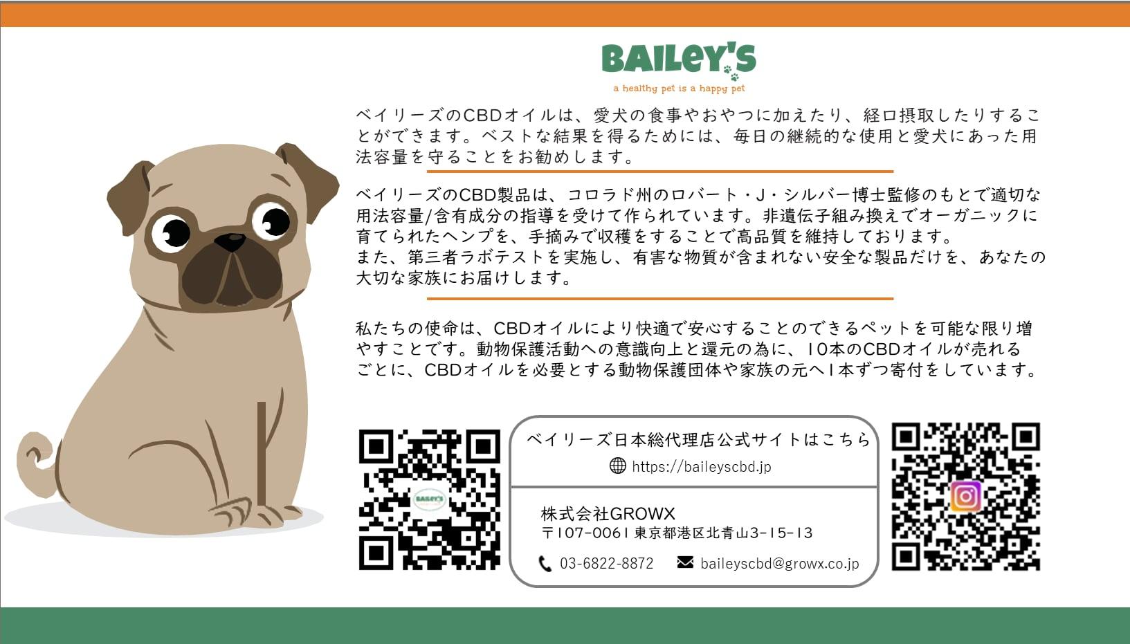 【BAILeY's】ごはんniサプリ わんこおいる(CBD150mg/15ml) - 無味無臭 -
