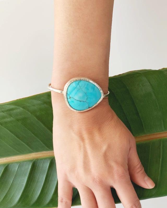 Turquoise silver bangle / big