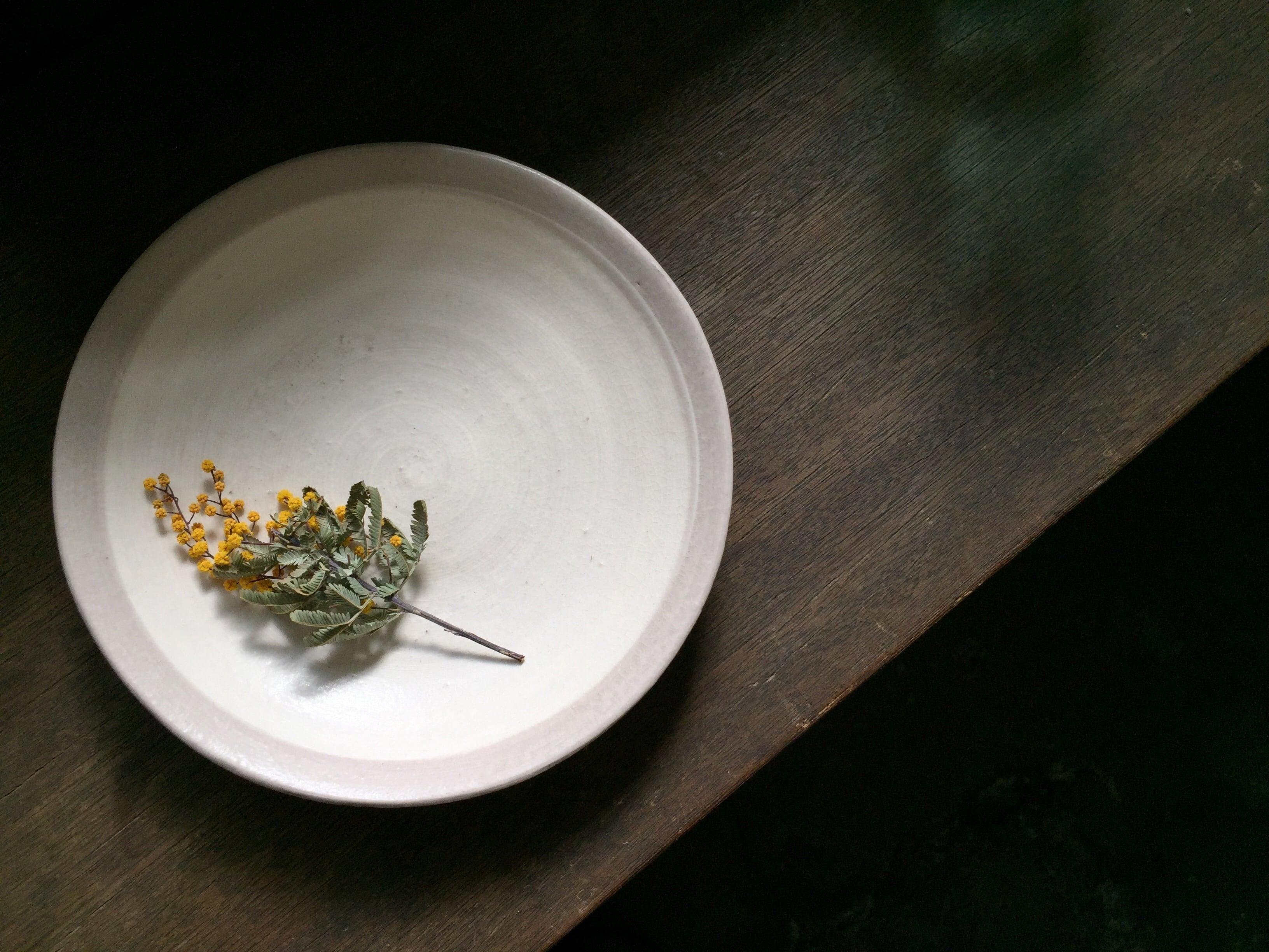 いにま陶房 掛け分けプレート 白×グレー