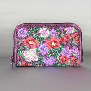 ラウンド小財布099紫紺花柄ビーズ刺繍