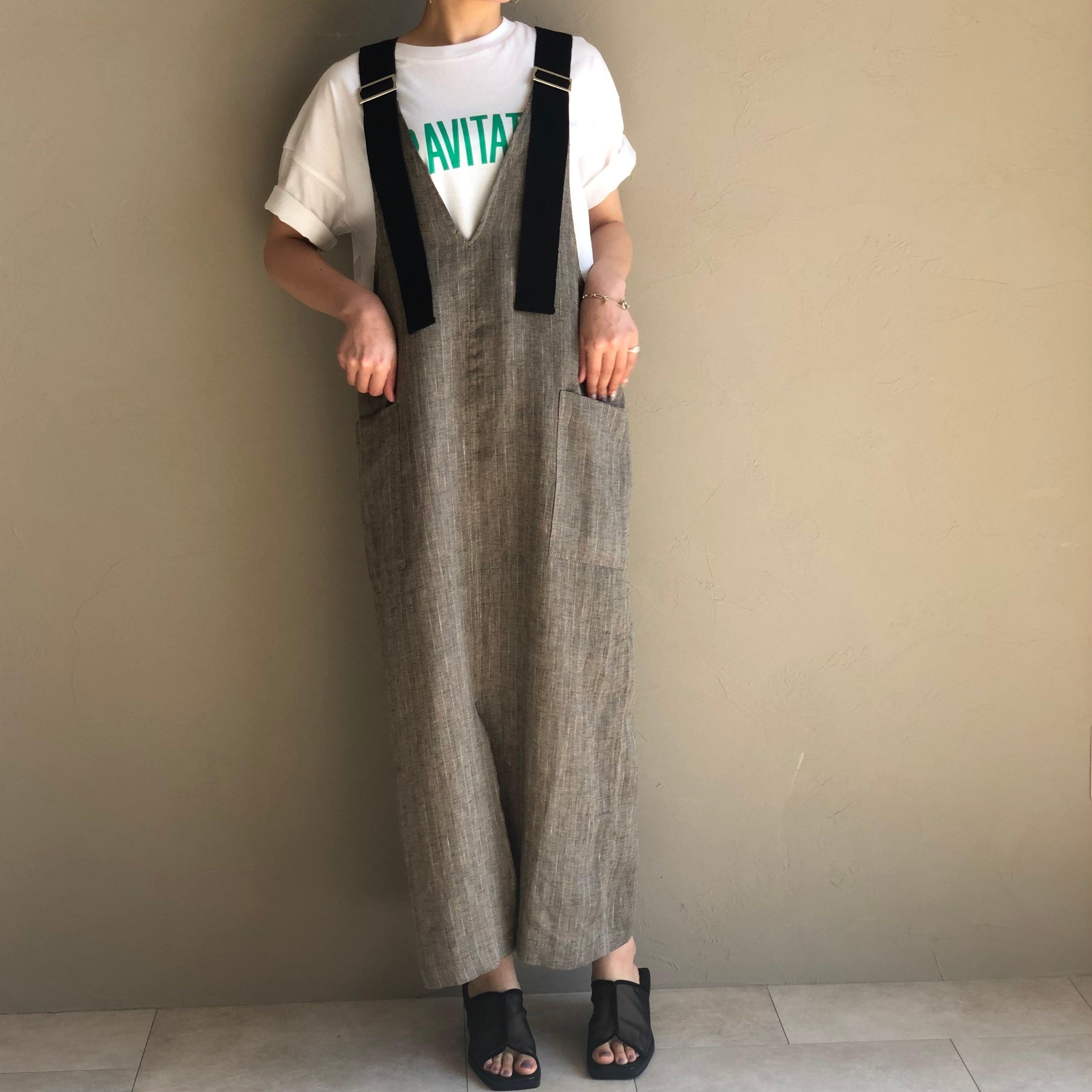 【 CYNICAL 】- 112-95136/112-95137 - 麻デニムジャンパースカート/麻ストライプジャンパースカート
