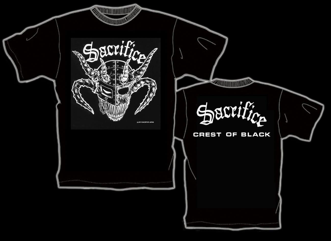 "SACRIFICE ""Crest Of Black"" Tシャツ(back: 白)"