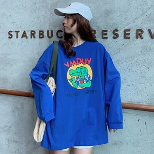 【トップス】カジュアル長袖プリントラウンドネックTシャツ43314145