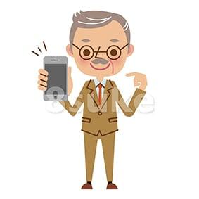 イラスト素材:スマートフォンを持つ社長・熟年のビジネスマン(ベクター・JPG)
