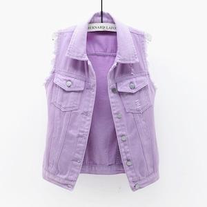 1300レディース デニム ベスト  チョッキ女性 秋 春 ノースリーブ デニムジャケット Gジャン ジーンズ 紫 パープル