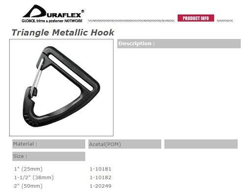 お得な10個入り duraflex 三角フック 25mm幅用 triangle metallic hook