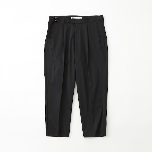 STRETCHED TWILL 1TUCK PANTS - BLACK