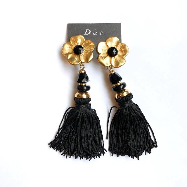 ゴールドのお花と黒タッセルのヴィンテージイヤリング