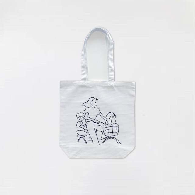 Ride a bicycle Tote-bag White