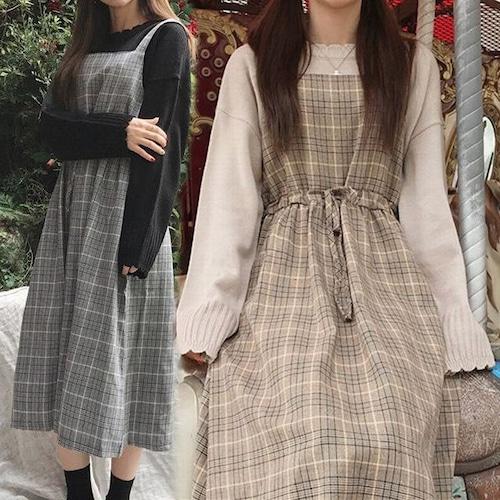 チェック柄 ジャンパースカート ワンピース 韓国 ファッション レディース ノースリーブ ハイウエスト カーキ グレー (DTC-600676297764)