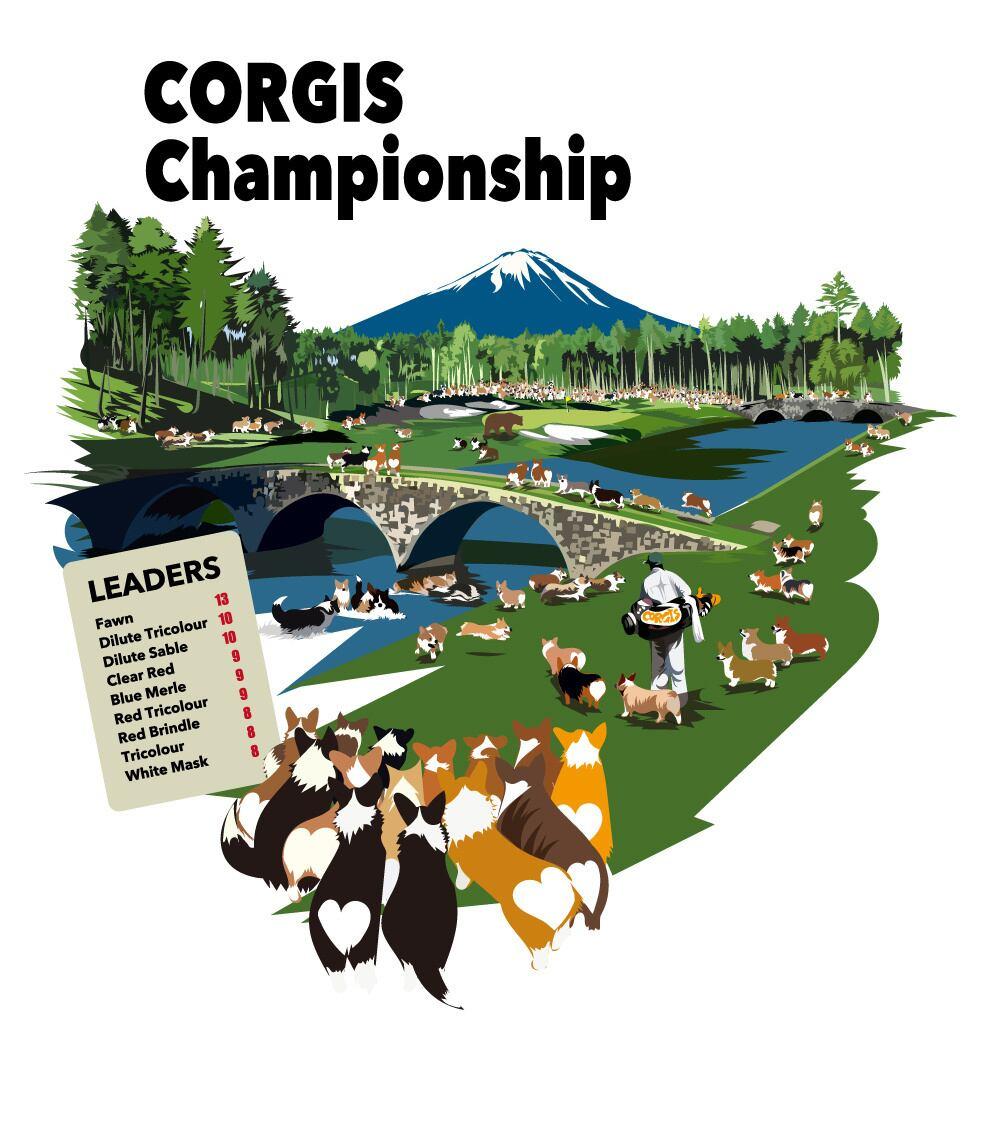 No.2021-Towel-022(ハンドタオル) :      コーギーのゴルフチャンピオンシップ ハンドタオル