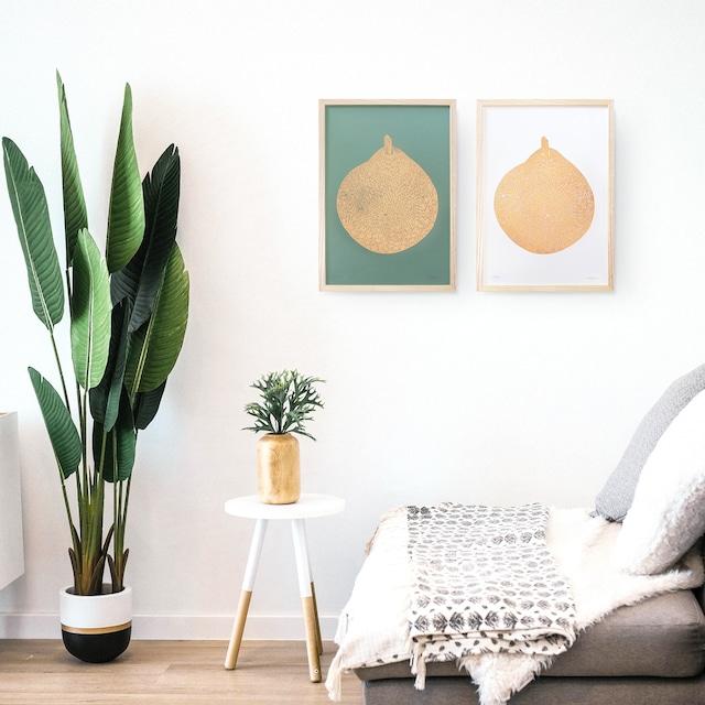Monika Petersen  Lino Print ポスター Round Gold Pear フレームセット