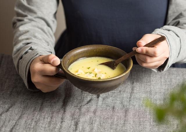 サビ釉 手付き 斜めしのぎスープカップ(信楽焼・スープカップ・スープボウル)/古谷 浩一