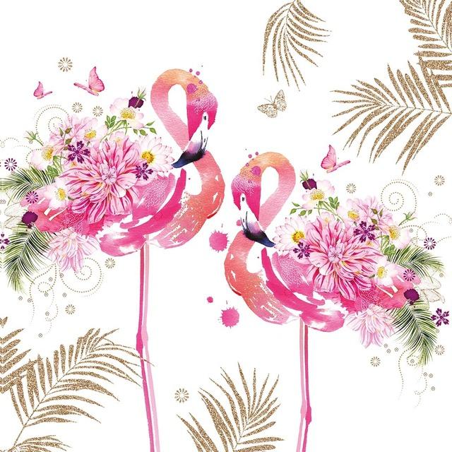 【Paperproducts Design】バラ売り2枚 ランチサイズ ペーパーナプキン Floral Flamingos ホワイト