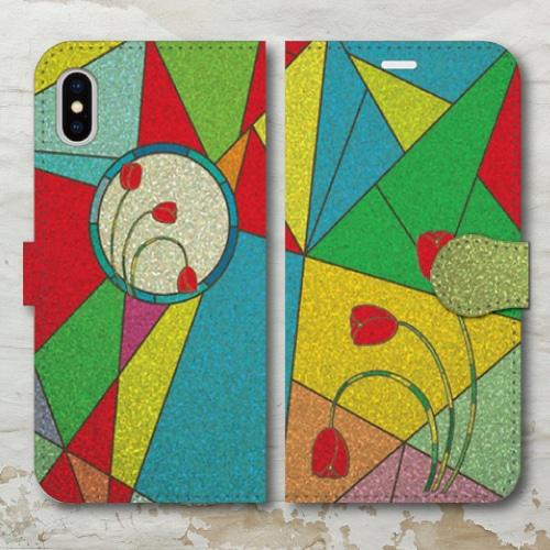 ステンドグラス調/ガラス調/カラフル/フラワー/レトロ調/花・赤/iPhoneスマホケース(手帳型ケース)