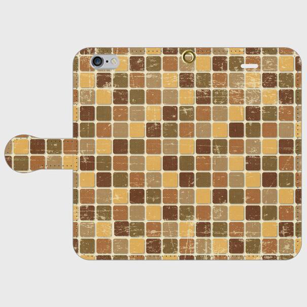 モザイクタイル(茶)/ iPhoneスマホケース(手帳型ケース)