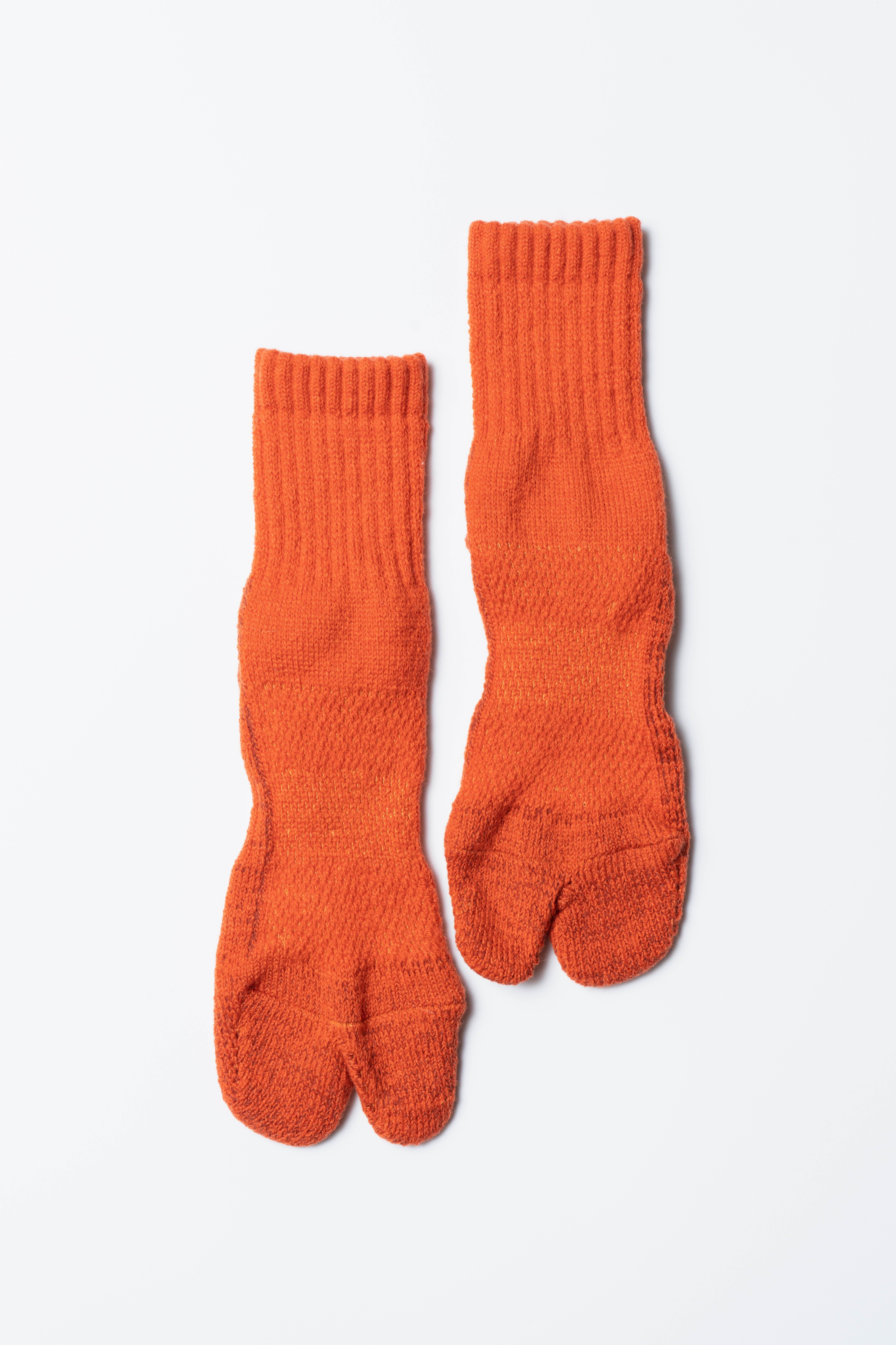 84N Wool Socks(Dark Orange × Brown)