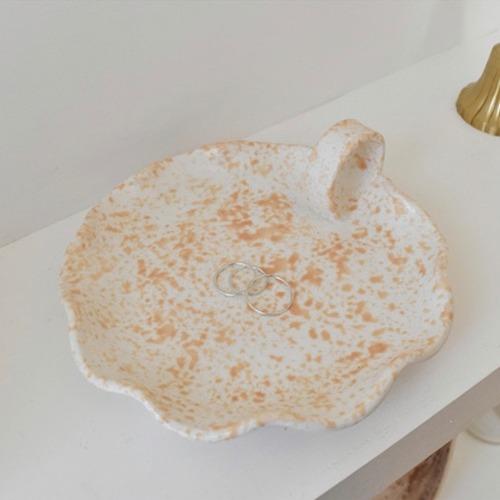spongeware handle plate sandy orange / キャンドルホルダー プレート トレー 韓国 北欧