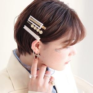 HAIR PIN || 【通常商品】 BLOSSOMS HAIR PIN SET B || 3 HAIR PINS || GOLD×WHITE || FBB075