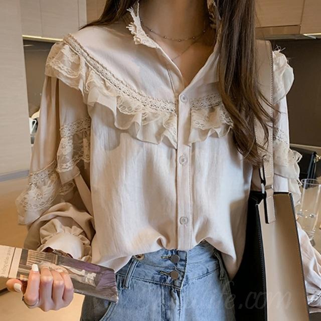 【トップス】おすすめ無地ボタンファッションシンプルレーススタンドネックシャツ53692140