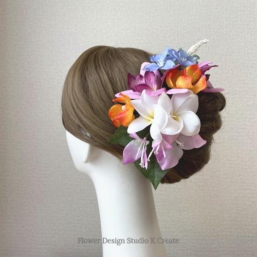 プルメリアとブーゲンビリアのヘッドドレス リゾートウェディング 髪飾り 成人式 結婚式 ヘッドドレス ウェディング