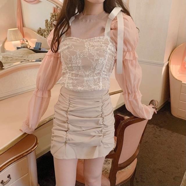 drape race camisole(White pink)