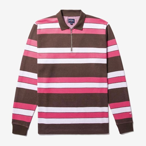 Long Sleeve Striped Zip Polo(Brown/White/Pink)