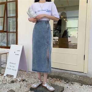 デニムロングスリットスカート